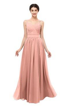 ColsBM Bryn Peach Bridesmaid Dresses Floor Length Sash Sleeveless Simple A-line Criss-cross Straps