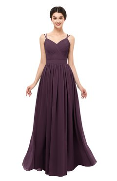 ColsBM Bryn Plum Bridesmaid Dresses Floor Length Sash Sleeveless Simple A-line Criss-cross Straps
