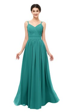 ColsBM Bryn Porcelain Bridesmaid Dresses Floor Length Sash Sleeveless Simple A-line Criss-cross Straps