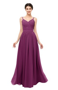 ColsBM Bryn Raspberry Bridesmaid Dresses Floor Length Sash Sleeveless Simple A-line Criss-cross Straps