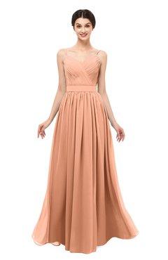 ColsBM Bryn Salmon Bridesmaid Dresses Floor Length Sash Sleeveless Simple A-line Criss-cross Straps