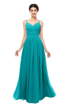 ColsBM Bryn Teal Bridesmaid Dresses Floor Length Sash Sleeveless Simple A-line Criss-cross Straps