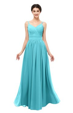 ColsBM Bryn Turquoise Bridesmaid Dresses Floor Length Sash Sleeveless Simple A-line Criss-cross Straps