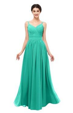 ColsBM Bryn Viridian Green Bridesmaid Dresses Floor Length Sash Sleeveless Simple A-line Criss-cross Straps