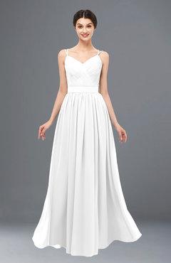 ColsBM Bryn White Bridesmaid Dresses Floor Length Sash Sleeveless Simple A-line Criss-cross Straps