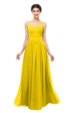 ColsBM Bryn Yellow Bridesmaid Dresses Floor Length Sash Sleeveless Simple A-line Criss-cross Straps