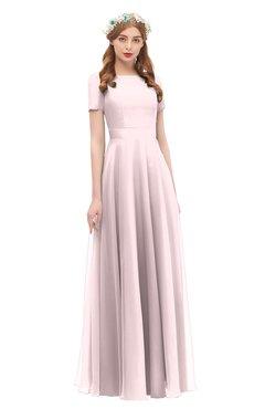 ColsBM Morgan Blush Bridesmaid Dresses Zip up A-line Traditional Sash Bateau Short Sleeve