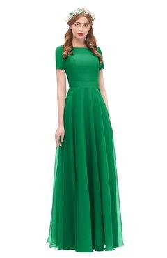 1d4e2ac99bced ColsBM Morgan Green Bridesmaid Dresses Zip up A-line Traditional Sash  Bateau Short Sleeve