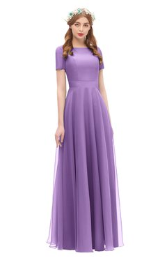 ColsBM Morgan Hyacinth Bridesmaid Dresses Zip up A-line Traditional Sash Bateau Short Sleeve