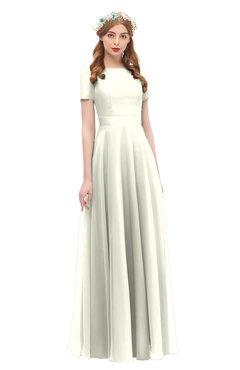 ColsBM Morgan Ivory Bridesmaid Dresses Zip up A-line Traditional Sash Bateau Short Sleeve