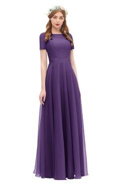 ColsBM Morgan Petunia Bridesmaid Dresses Zip up A-line Traditional Sash Bateau Short Sleeve