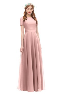 ColsBM Morgan Silver Pink Bridesmaid Dresses Zip up A-line Traditional Sash Bateau Short Sleeve