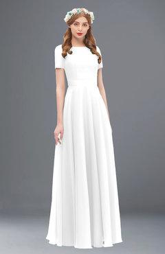 ColsBM Morgan White Bridesmaid Dresses Zip up A-line Traditional Sash Bateau Short Sleeve