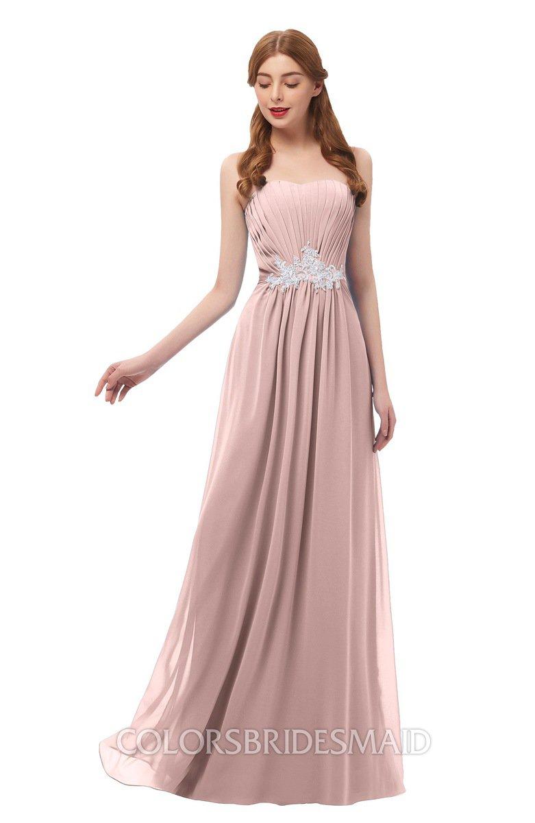 919e1c114a6b8 ColsBM Jess Blush Pink Bridesmaid Dresses Sleeveless Appliques Strapless A- line Zipper Modern
