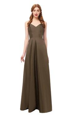 ColsBM Aubrey Brown Bridesmaid Dresses V-neck Sleeveless A-line Criss-cross Straps Sash Classic