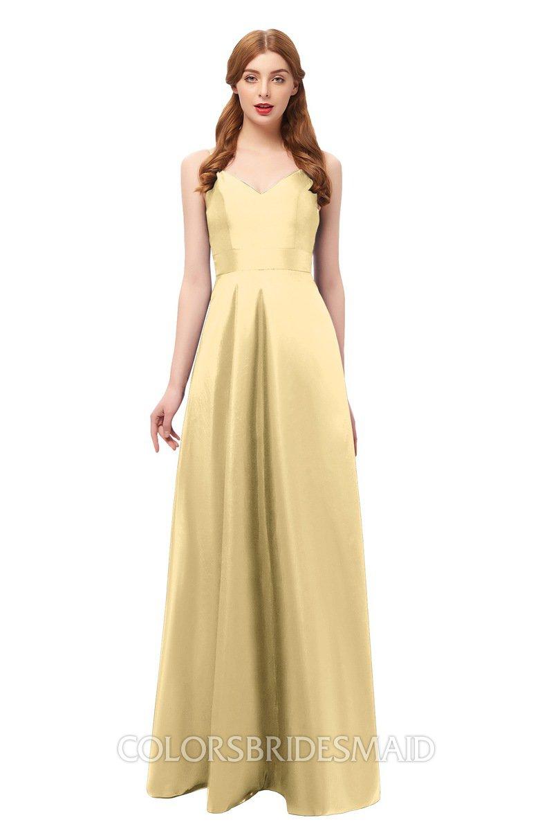 6c9e17a3b5 ColsBM Aubrey Light Yellow Bridesmaid Dresses V-neck Sleeveless A-line  Criss-cross