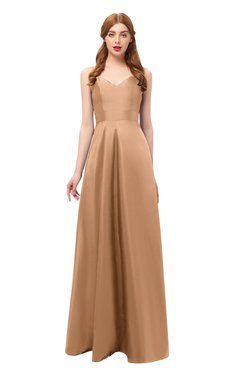 ColsBM Aubrey Toast Bridesmaid Dresses V-neck Sleeveless A-line Criss-cross Straps Sash Classic