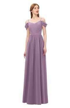 ColsBM Taylor Valerian Bridesmaid Dresses A-line Off The Shoulder Short Sleeve Zipper Floor Length Simple