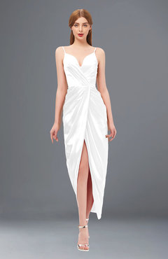 ColsBM Harlow White Bridesmaid Dresses Spaghetti Sleeveless Glamorous Hi-Lo Pleated Column