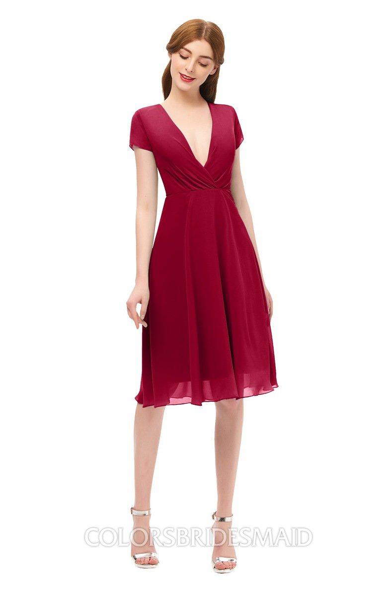 ff75d289d76 ColsBM Bailey Dark Red Bridesmaid Dresses V-neck Ruching A-line Zipper Knee  Length