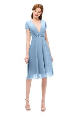 829c9d03afc ColsBM Bailey Dusty Blue Bridesmaid Dresses V-neck Ruching A-line Zipper  Knee Length