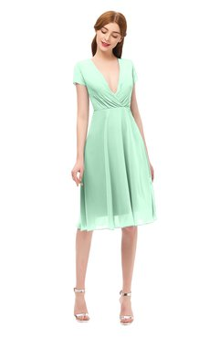ColsBM Bailey Honeydew Bridesmaid Dresses V-neck Ruching A-line Zipper Knee Length Modern