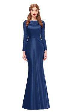 ColsBM Kenzie Indigo Bridesmaid Dresses Trumpet Lace Bateau Long Sleeve Floor Length Mature