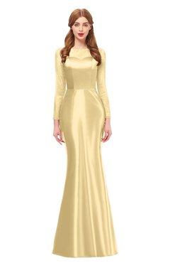 aa64a3afcbb ColsBM Kenzie Light Yellow Bridesmaid Dresses Trumpet Lace Bateau Long  Sleeve Floor Length Mature