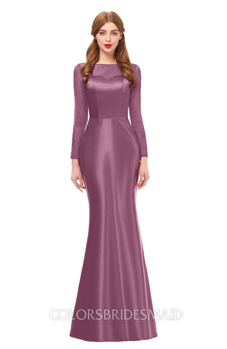 87693b0a3ed5 ColsBM Kenzie Mauve Bridesmaid Dresses Trumpet Lace Bateau Long Sleeve  Floor Length Mature
