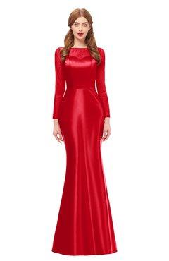 ColsBM Kenzie Tomato Bridesmaid Dresses Trumpet Lace Bateau Long Sleeve Floor Length Mature