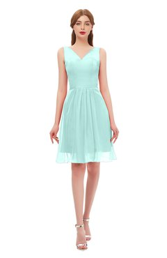 8b7de0d82fb ColsBM Sage Blue Glass Bridesmaid Dresses Zip up Knee Length Cute Sleeveless  V-neck Ruching