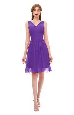 579638913bf ColsBM Sage Deep Lavender Bridesmaid Dresses Zip up Knee Length Cute  Sleeveless V-neck Ruching