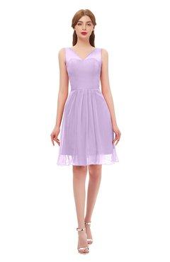 ColsBM Sage Lavendula Bridesmaid Dresses Zip up Knee Length Cute Sleeveless V-neck Ruching
