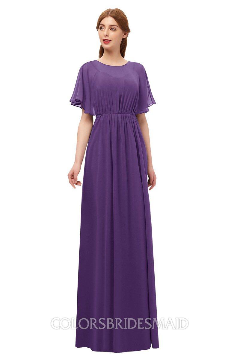 c4728c8a234 ColsBM Darcy Dark Purple Bridesmaid Dresses Pleated Modern Jewel Short  Sleeve Lace up Floor Length