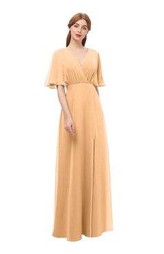 b4732b38e8 ColsBM Dusty Apricot Bridesmaid Dresses Pleated Glamorous Zip up Short  Sleeve Floor Length A-line