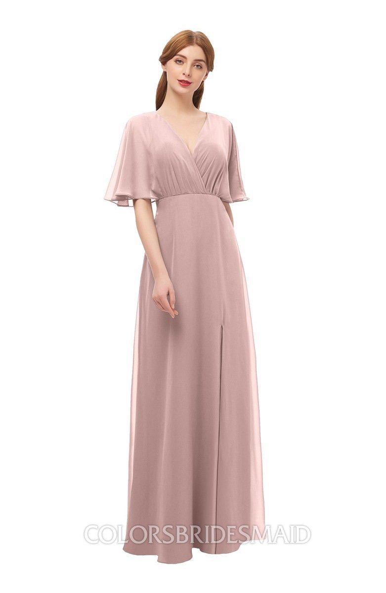 1141f2b86f64 ColsBM Dusty Blush Pink Bridesmaid Dresses Pleated Glamorous Zip up Short  Sleeve Floor Length A-