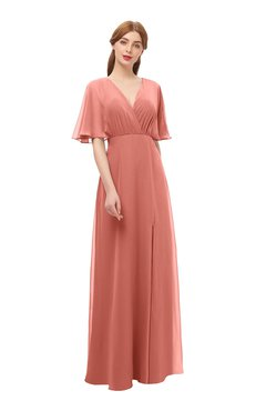 ColsBM Dusty Crabapple Bridesmaid Dresses Pleated Glamorous Zip up Short Sleeve Floor Length A-line