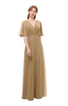 3a08cedb3ea0 ColsBM Dusty Indian Tan Bridesmaid Dresses Pleated Glamorous Zip up Short  Sleeve Floor Length A-