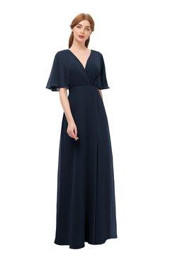 89e0481d2344f ColsBM Dusty Navy Blue Bridesmaid Dresses Pleated Glamorous Zip up Short  Sleeve Floor Length A-