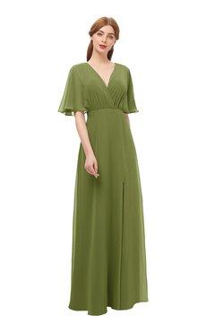 5e62ea1aebe0 ColsBM Dusty Olive Green Bridesmaid Dresses Pleated Glamorous Zip up Short  Sleeve Floor Length A-