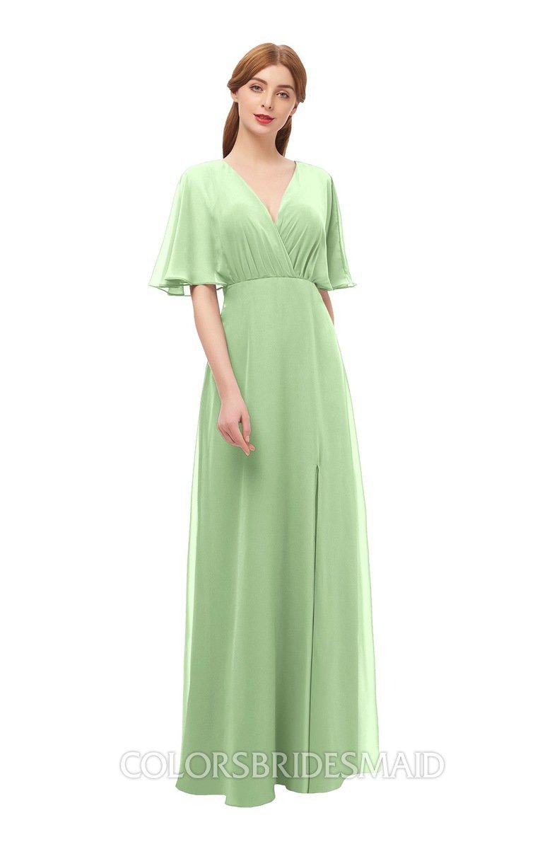 bc0cc23ac5e434 ColsBM Dusty Sage Green Bridesmaid Dresses Pleated Glamorous Zip up Short  Sleeve Floor Length A-