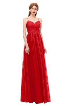 ColsBM Rian Red Bridesmaid Dresses Sleeveless Ruching A-line Glamorous Half Backless Spaghetti