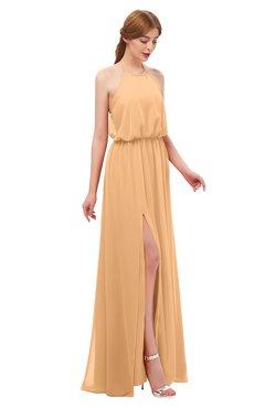 ColsBM Jackie Apricot Bridesmaid Dresses Casual Floor Length Halter Split-Front Sleeveless Backless