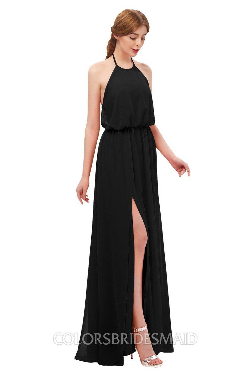 Black Floor Length Bridesmaid Dresses