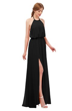 ColsBM Jackie Black Bridesmaid Dresses Casual Floor Length Halter Split-Front Sleeveless Backless