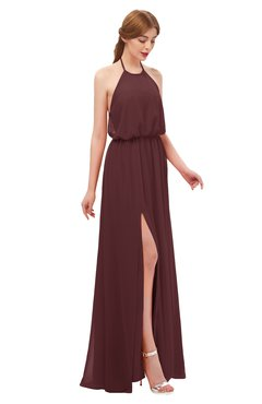 ColsBM Jackie Burgundy Bridesmaid Dresses Casual Floor Length Halter Split-Front Sleeveless Backless