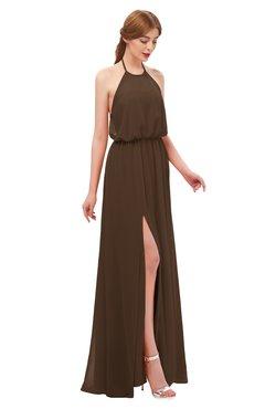 ColsBM Jackie Chocolate Brown Bridesmaid Dresses Casual Floor Length Halter Split-Front Sleeveless Backless