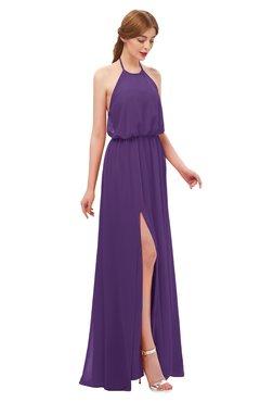 ColsBM Jackie Dark Purple Bridesmaid Dresses Casual Floor Length Halter Split-Front Sleeveless Backless