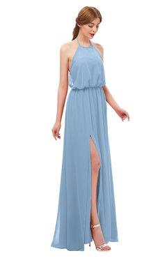 ColsBM Jackie Dusty Blue Bridesmaid Dresses Casual Floor Length Halter Split-Front Sleeveless Backless