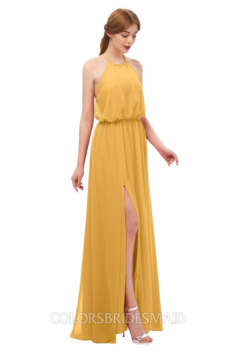 78c1480f9e08 ColsBM Jackie Golden Cream Bridesmaid Dresses Casual Floor Length Halter  Split-Front Sleeveless Backless